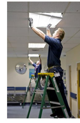 Electricians Completing Lighting Retrofit